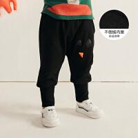 【3件7折价:167.3元】马拉丁童装男小童裤子冬装新款时尚宽松印花收口裤儿童裤子