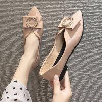 户外尖头平底单鞋女时尚韩版学生百搭浅口休闲鞋子潮