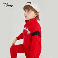 【2件3折后价:128.7元】迪士尼童装儿童长袖外套长裤两件套中小童男童时尚立领运动套装