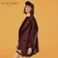 太平鸟女装春装装新款双排扣小个子毛呢外套女中长款翻领呢大衣