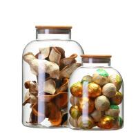 玻璃陈皮罐竹盖小青柑罐茶叶装花茶罐咖啡豆粉零食白糖收纳罐薄款