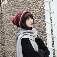冬季女士帽子保暖加绒针织帽麻花护耳帽韩版百搭毛线帽子加厚清新