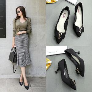 ZHR2019春季新款法式少女高跟鞋女细跟浅口单鞋猫跟鞋尖头女鞋子