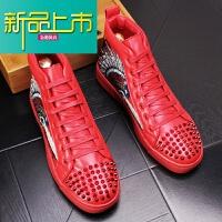 新品上市男士高帮鞋潮男铆钉休闲鞋内增高短靴时尚马丁鞋韩版皮鞋子
