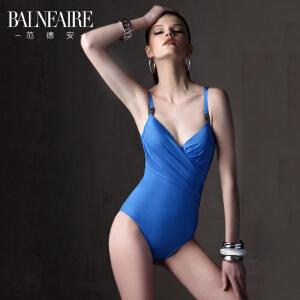 范德安泳衣女 金属背扣 时尚褶皱丰满聚拢 品牌直降 连体泳衣