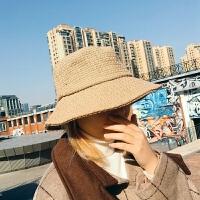 帽子女秋冬季韩版百搭渔夫帽纯色网红冬季加厚帽子冬天日系清新