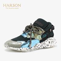 【 立减120】哈森2019秋季新款圆头平跟拼色单鞋女 休闲个性运动休闲鞋HL96803