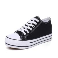 内增高帆布鞋女春季布鞋韩版松糕厚底街拍板鞋小白鞋女鞋学生