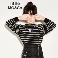 littlemoco冬季新品男女童小熊图案条纹针织套头羊毛衫儿童毛衣