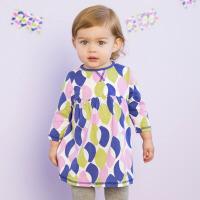 davebella戴维贝拉女童春装新款宝宝婴儿印花连衣裙
