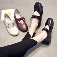夏季新款浅口平底纯手工孕妇单鞋牛皮休闲软底驾车女鞋