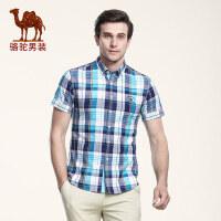 骆驼男装 夏季新款无弹扣领尖领棉质短袖格子衬衫休闲男衬衣