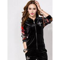 女款韩版休闲新品金丝天鹅绒套装  女立领印花两件套长袖运动服