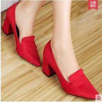 百年纪念女鞋粗跟单鞋 新款 尖头OL浅口方跟套脚高跟鞋子女1138