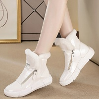 厚底雪地靴女水滑白色亮面平底保暖加绒棉鞋韩版漆皮短靴