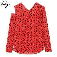 【25折到手价:99.75元】 Lily秋新款女装复古圆点不对称露肩镂空长袖衬衫118330C4642