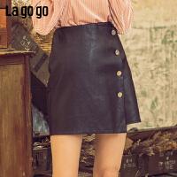 【清仓5折价131】Lagogo/拉谷谷2019春季新款简约黑色短款高雅半身裙女IABB131A43