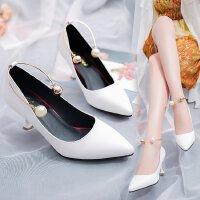 中跟5cm小码白色珍珠搭扣猫跟浅口优雅仙女鞋性感高跟鞋女单皮鞋