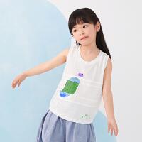 【1件秒杀价:136】马拉丁童装女童衬衫2020夏装新款艺术感印花图案圆领无袖衬衫