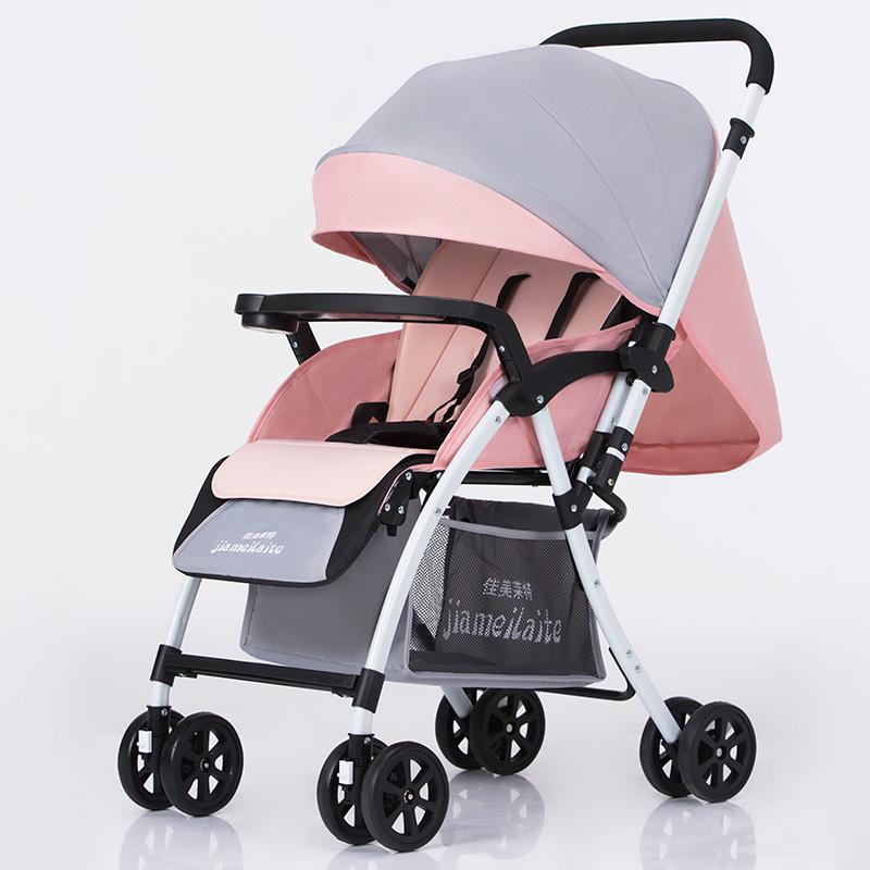 婴儿推车轻便折叠可坐可躺超轻小儿童宝宝小孩手推车夏便携式bb车 灰粉色 双向款