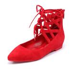 【秋冬新款 限时1折起】哈森女鞋 纯色羊反绒单鞋 系带平跟休闲鞋HL61905