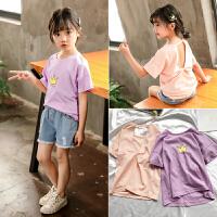 女童短袖T恤夏季休闲皇冠印花图案儿童露肩上衣潮