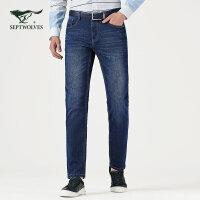 【咖啡碳纤维】七匹狼牛仔裤男装时尚商务休闲修身长裤子