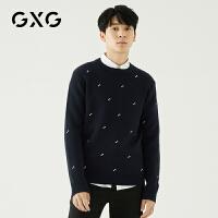GXG男装 秋冬商务韩版双色刺绣圆领套头针织衫毛衣潮#GA120403E