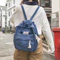 古着感少女书包 女韩版原宿ulzzang 高中学生 校园帆布森系双肩包