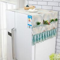 海尔双门冰箱罩防尘罩对开门冰箱盖巾收纳袋蕾丝三开门大冰箱盖布抖音