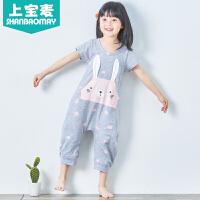 夏季新款儿童连体睡衣夏季短袖宝宝连体衣睡衣动物