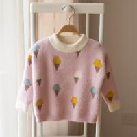 女童毛衣加绒0一1岁3儿童加厚宝宝针织衫2婴儿加绒水貂绒线衣