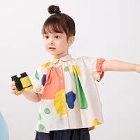 【秒杀价:122元】马拉丁童装女小童衬衫2020夏装新款水果图案满印花可爱娃娃衫