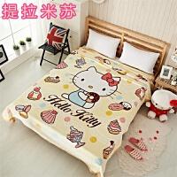凯蒂猫卡通儿童法兰绒 珊瑚绒毛毯子kt法莱绒床单 单双人空调毯