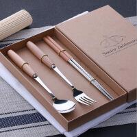 木柄餐具便携套装 牛排刀叉勺三件套 不锈钢勺子筷子四件套