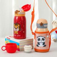 儿童吸管保温杯304不锈钢水杯学生女宝宝幼儿园可爱防摔水壶 刻字