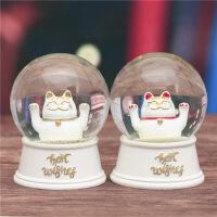 手摇亮片趣味招财猫玻璃水晶球摆件可爱家居柜台桌面装饰时尚摆设