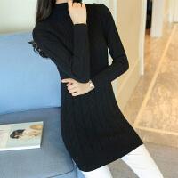 新年特惠秋冬装女装新款韩版半高领打底衫毛衣麻花中长款针织衫厚款