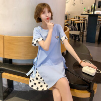 圆点拼接孕妇连衣裙夏季新品孕妇装韩版中长款裙子大码女装M-3238
