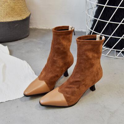 短靴女2019秋冬季欧美时尚方头靴针织拼接粗跟高跟弹力靴女靴批发