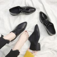 户外英伦风复古小皮鞋女学生中跟百搭尖头单鞋女鞋