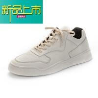 新品上市19春季新款真皮小白鞋男鞋英伦潮流休闲鞋百搭板鞋运动鞋 白色
