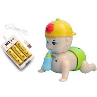婴儿电动玩具 0-3-6-8-12个月宝宝 男女爬行娃娃仿真爬娃爬爬c 十首歌奶瓶娃娃 充电电池