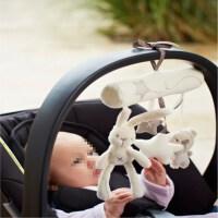 新生婴儿玩具0-1岁宝宝推车挂件 风铃床挂床铃 摇铃 毛绒艺布玩具 白色 兔子车挂 带音乐