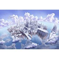 创意新奇送女友生日新年礼物进口椴木拼图1000片儿童益智玩具 白色 天空之城1000分区