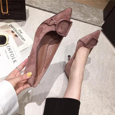 尖头高跟鞋女2019春季新款时尚韩版百搭细跟高跟单鞋绒面气质女鞋