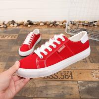 男士休闲鞋春季新款红色帆布鞋男孩子中大童青少年透气单鞋男鞋子