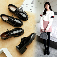 英伦风黑色小皮鞋女冬季韩版百搭学生软妹中粗跟布洛克鞋子女 黑色单里