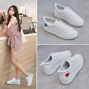 ZHR2019春季新款韩版基础小白鞋中跟厚底休闲鞋平底单鞋学生女鞋
