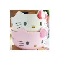 日照鑫 卡通hello kitty 凯蒂猫可爱碗防摔儿童餐具 米饭碗 仿陶瓷碗(一个装)